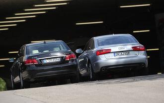 Audi A6 2.0 TDI Ultra, Mercedes E 220 Bluetec, Heckansicht