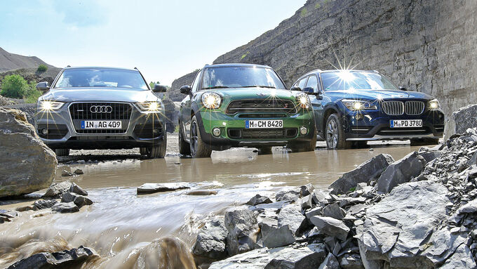 Audi Q3, BMW X1, Mini Countryman, Front view