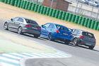 Audi S3, Subaru WRX Sti, BMW M135i x-Drive, Heckansicht