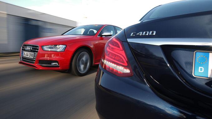 Audi S4, Mercedes C 400 4Matic, Ausfahrt