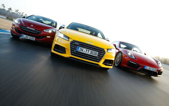 Audi TTS, Peugeot RCZ R, Porsche Cayman GTS, Front view