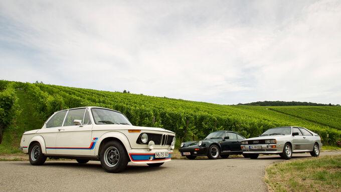 Audi quattro, Porsche 911 turbo 3.3, BMW 2002 turbo, Seitenansicht