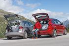 BMW 218d Active Tourer, VW Golf Sportsvan 2.0 TDI, Heckansicht, Heckklappe