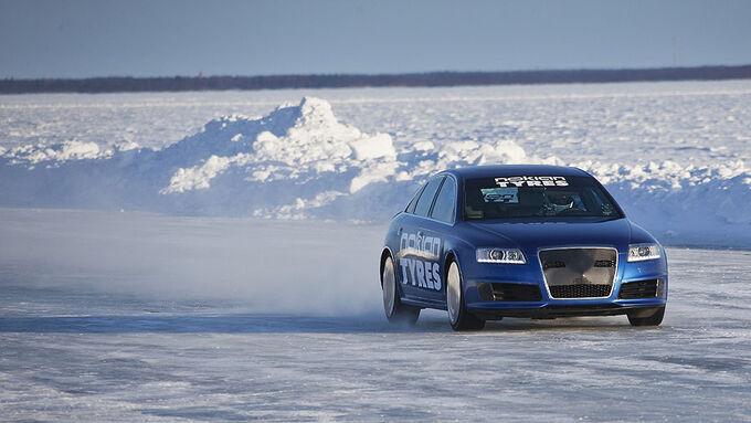 Geschwindigkeitsweltrekord auf Eis, Winterreifen mit Spikes, Nokian, Audi RS6, 06.03.11