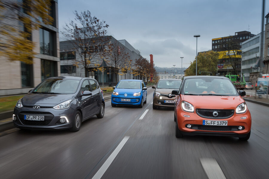 smart forfour twingo i10 and vw up compared the city quartet auto motor and sport. Black Bedroom Furniture Sets. Home Design Ideas