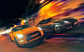 Jaguar F-Type R AWD Coupé, Nissan GT-R, Frontansicht