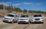 Mazda CX-5, Nissan Qashqai, VW Tiguan, Frontansicht