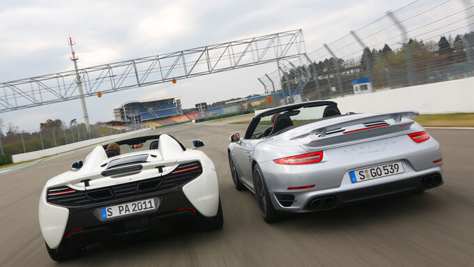 McLaren 650s Spider, Porsche 911 Turbo S Cabriolet, Rear view