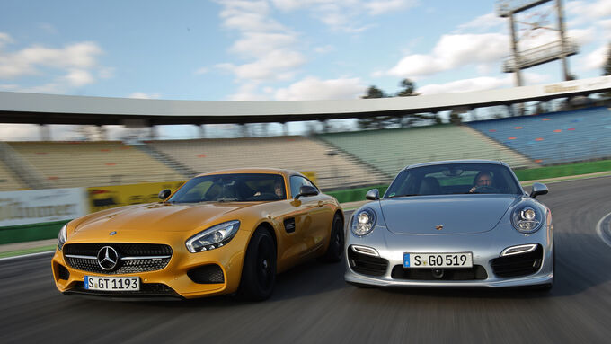 Mercedes-AMG GT S, Porsche 911 Turbo, Front view