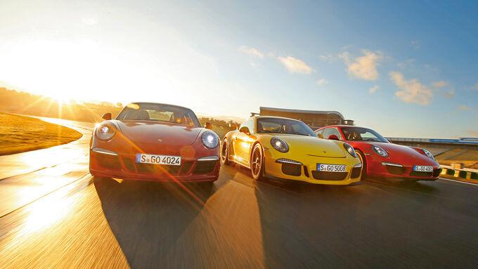 Porsche 911 Carrera S, 911 Carerra GTS, 911 GT3, Front view