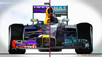 Red Bull RB10 Mercedes W05 - Piola Technik-Video 2014