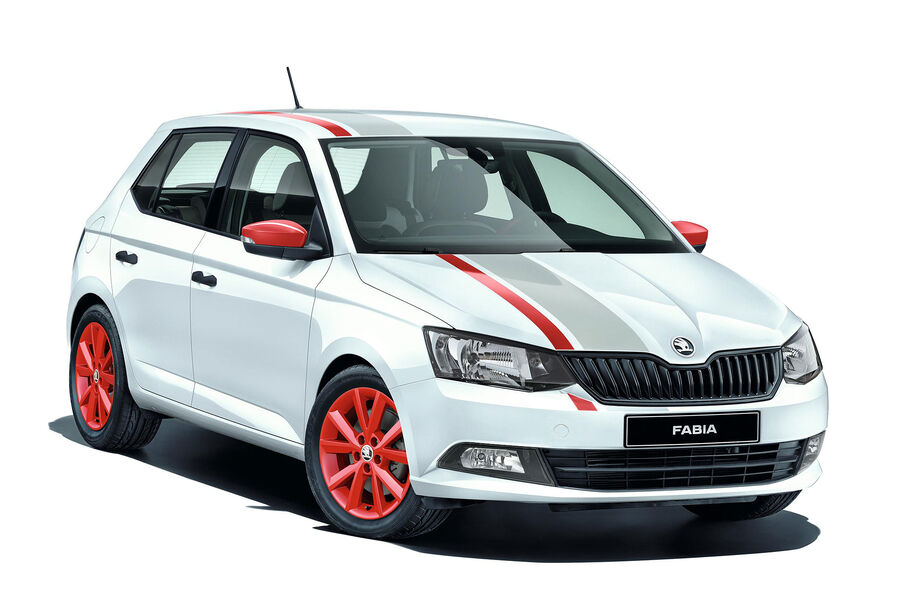 skoda fabia und rapid spaceback sondermodelle mit rallye streifen auto motor und sport. Black Bedroom Furniture Sets. Home Design Ideas