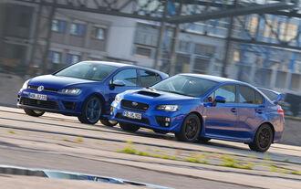 Subaru WRX STI, VW Golf, Seitenansicht